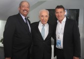 Congressman Chaka Fattah, Shimon Peres, and Rafi Gidron at BrainTech2015